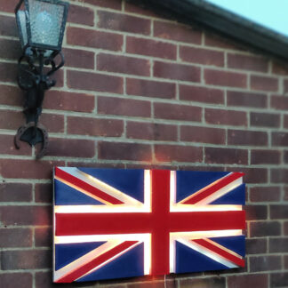 3d UK flag sound-sensitive flashing outside on bricks wall